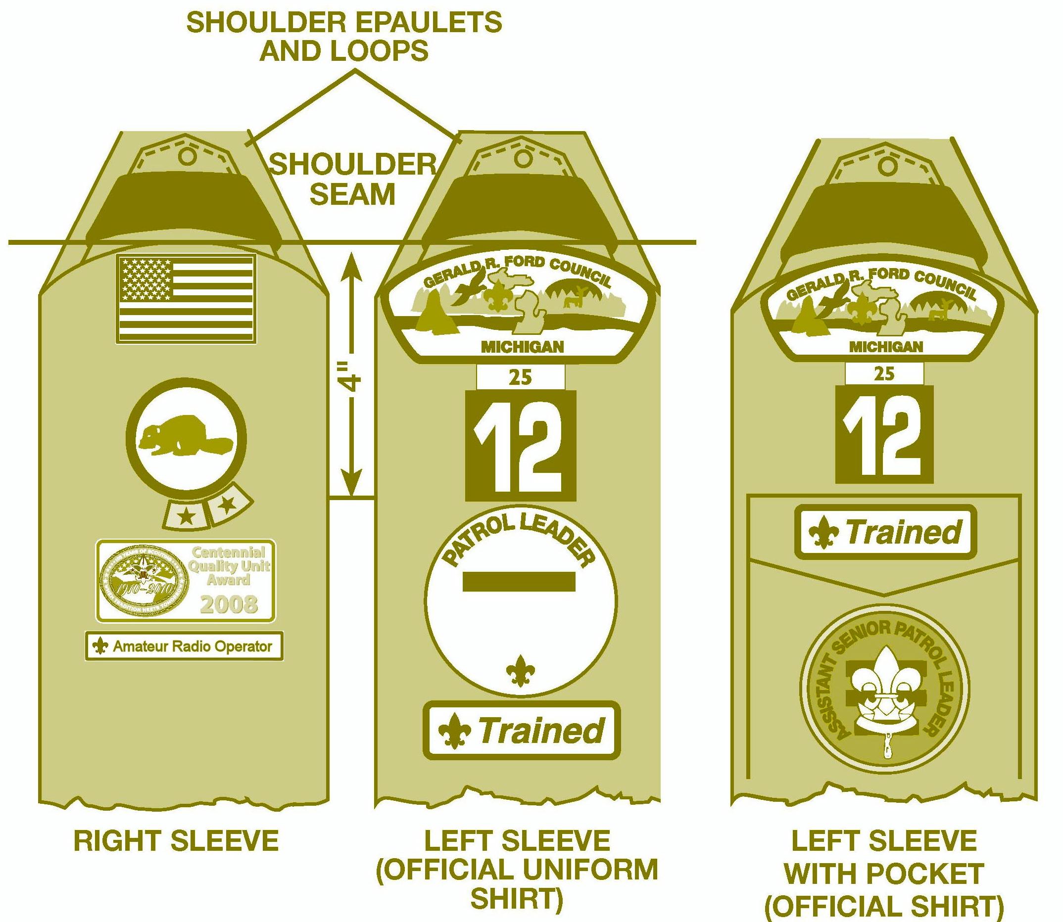 Merit badge sash.