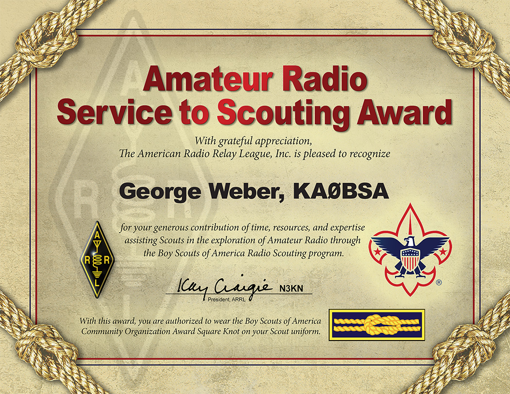 Arrl Service To Scouting Award K2bsa Amateur Radio Association