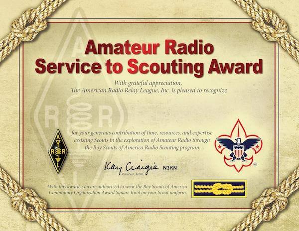 ARRL Service to Scouting Award :: K2BSA Amateur Radio
